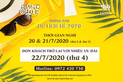 THÔNG BÁO DU LỊCH HÈ 2020